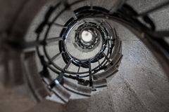 upward stone spiral stairway Royalty Free Stock Photography