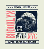 Vintage urban typography with eagle head Royalty Free Stock Images