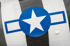 Vintage US airforce insignia. Closeup of vintage US airforce insignia on an old warbird aircraft royalty free stock image