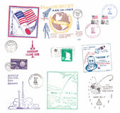 Vintage US airmail labels with space motifs stock images