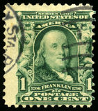 Vintage US Postage Stamp of Benjamin Franklin 1902 Royalty Free Stock Photography