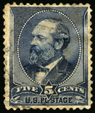 Vintage US Postage Stamp of President Garfield 1880s. UNITED STATES, CIRCA 1880s: Vintage US Postage Stamp celebrating James A. Garfield, the twentieth President Stock Photography