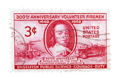 Vintage US postage stamps. United States- Circa 1948 : A vintage US postage stamp image of a Peter Stuyvesant and fire vintage engines, value of 3 cents Stock Images