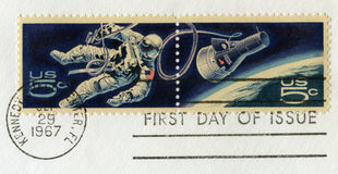Vintage US Space Postal Stamps Stock Photo