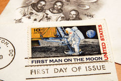Vintage US stamp of the first man on the moon Stock Photo