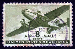 Vintage USA Airmail 8c Stamp Royalty Free Stock Photo