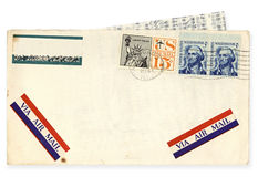 Vintage USA Airmail Envelope. USA airmail envelope, postmarked Chicago, 1966.  Contains letter typed on airmail paper.  Clipping path included Royalty Free Stock Photo