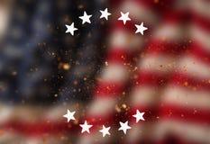 Vintage USA flag background, close-up. Stock Photo