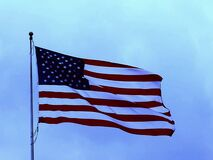 vintage USA Flag and blue sky Stock Images