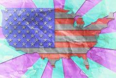 Vintage USA flag paper grunge. Stock Image
