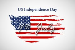 Vintage USA flag with US Independence Day 4 July text. Vector American flag on grunge texture. Vintage USA flag with US Independence Day 4 July text. Vector Stock Photo