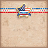 Vintage USA Golden Star Stripes Memorial Day. Vintage Memorial Day background design with brown colors and US-Flag golden star Vector Illustration