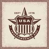 Vintage USA Independence Day Label. In woodcut style. Editable EPS10 vector illustration with transparency Stock Photography