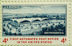 Vintage USA postage stamp. A vintage postage stamp of the First automated Post Office in the United States Royalty Free Stock Photography