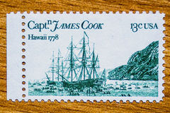 Vintage USA postage stamp. A vintage 1978 mint of Captain James Cook`s 1778 Exploration of Hawaii and Alaska unused postage stamp Stock Images