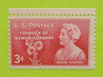 Vintage USA postage stamp. A vintage United States postage stamp of Moina Michael, Founder of memorial Poppy Royalty Free Stock Photos