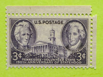 Vintage USA postage stamp. A vintage United States postage stamp of 150th Anniversary of Statehood Stock Image