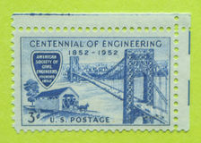 Vintage USA postage stamp. A vintage United States unused postage stamp of the Centennial of Engineering, 1852-1952 Stock Images