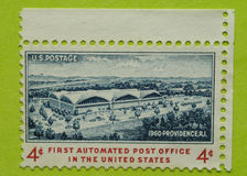 Vintage USA postage stamp. A vintage United States unused postage stamp First Automated Post Office in the United States Royalty Free Stock Images