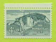Vintage USA postage stamp. A vintage United States unused postage stamp of the Homestead act 1862 Stock Photo