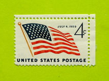 Vintage USA postage stamp. A vintage United States unused postage stamp of July 4, 1959 Royalty Free Stock Photo