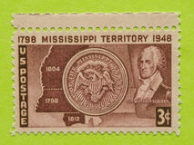 Vintage USA postage stamp. A vintage United States unused postage stamp of Mississippi Territory Stock Image