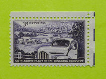 Vintage USA postage stamp. A vintage United States unused postage stamp of the 50th Anniversary of the Trucking Industry Stock Image