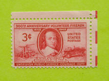 Vintage USA postage stamp. A vintage United States unused postage stamp of 300th Anniversary Volunteer Firemen, 1648-1948 Stock Photo