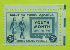 Vintage USA postage stamp. A vintage United States unused postage stamp of the Youth Month, September 1-30, 1948 Stock Photos