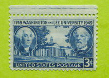 Vintage USA unused postage stamp. A vintage United States postage stamp of Washington and Lee University Royalty Free Stock Photo