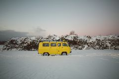Vintage ussr yellow van winter snow forest. Lights night restauration Royalty Free Stock Photos