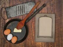 Vintage utensils set and skillet Stock Image