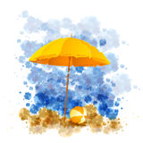 Vintage vacation background. Beach  umbrella on sunny sea shore, illustration Stock Image