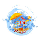 Vintage vacation background. Beach  umbrella on sunny sea shore, illustration Stock Photo