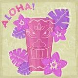 Vintage Vacation Retro Aloha Card. Purple Vintage Vacation Retro Aloha Card with Totem and Flowers Royalty Free Stock Images