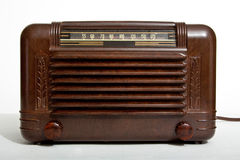 Vintage vacuum tube radio. Vintage 1940 brown vacuum tube am radio Stock Image