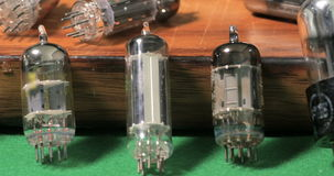 Vintage vacuum tubes valves tor music amplifiers stock footage