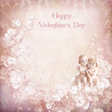 Vintage valentine background with angels. Floral background for congratulation with angels Stock Images