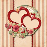 Vintage valentine background  with gorgeous frame Royalty Free Stock Images