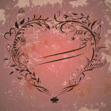Vintage valentine background with heart frame Royalty Free Stock Images