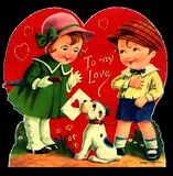 Vintage Valentine Boy Girl Dog Royalty Free Stock Photography