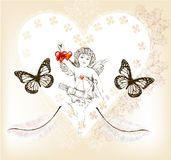 Vintage valentine card with amour and hearts from lace Royalty Free Stock Image