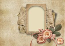 Vintage Valentine card on shabby background with roses stock photo