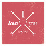 Vintage valentine card template with worn red Stock Image