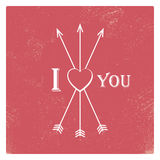 Vintage valentine card template with worn red Royalty Free Stock Photo