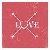 Vintage valentine card template with worn red Royalty Free Stock Images