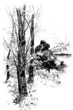 Vintage Valentine: couple embracing at sunset, old print. Love at sunset, couple seat embracing outdoors in the garden stock illustration