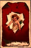 Vintage Valentine Cupid Ripping through Red Royalty Free Stock Photography