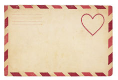 Vintage Valentine Envelope. The front of an vintage Valentine-themed envelope with red striped border. Isolated on white with clipping path Stock Photos