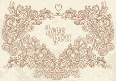 Vintage valentine frame Stock Photo